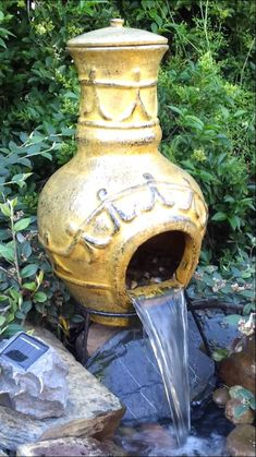 Clay chiminea water feature