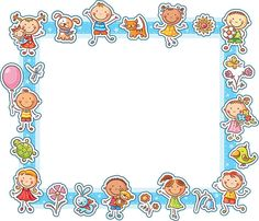 Rectangular frame with happy cartoon kids, pets and flowers. - Happy Kids Rectangular Frame vector art illustration You are in the right place about cool kids Her - Painting For Kids, Art For Kids, Crafts For Kids, Happy Cartoon, Cartoon Kids, Boarders And Frames, Kids Background, Frame Clipart, Album Design