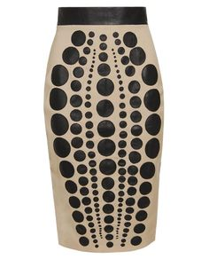 laser-cut leather & wool pencil skirt david koma browns