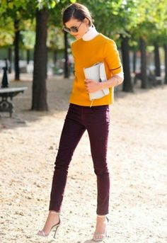 Recreate with my mustard sweater and purple dress