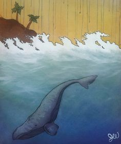 Ocean Whale Art Print 'Rainy Day Whale' by 650Willowdale on Etsy,