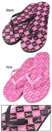 Pink Ribbon Checkered Flip Flops at The Breast Cancer Site