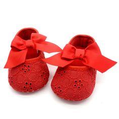 Barato Bebé Sapatos Princesa Prewalker Sapatos de Sola Macia Branco Puro Lazer…