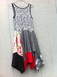 boho upcycled clothing Patchwork Shirt Dress women by CreoleSha
