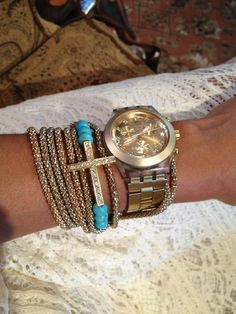 "I love this bracelet! (...i love that watch too lol) Image of ""Love"" Turquoise Side Cross Bracelet"