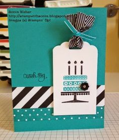 Stampin' Up! ... handmade birthday card ...  great collors: teal base with black & white ... tag with cake ... bands of print paper ... fun ribbons on the tag ... luv it!