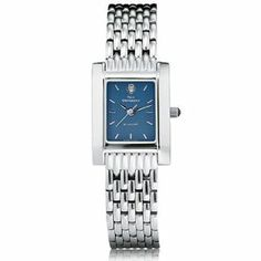 """Yale University Women's Swiss Watch - Blue Quad Watch with Bracelet by M.LaHart & Co.. $299.00. Attractive M.LaHart & Co. gift box.. Three-year warranty.. Classic American style by M.LaHart. Swiss-made quartz movement with 7 jewels.. Officially licensed by Yale University. Yale University women's steel watch featuring Yale insignia at 12 o'clock and """"Yale University"""" inscribed below on the blue dial. Swiss-made quartz movement with 7 jewels. Blue dial with han..."""