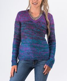 Look at this #zulilyfind! Forever Lily Purple & Blue V-Neck Sweater by Forever Lily #zulilyfinds