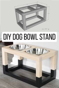 Easy DIY Dog Bowl Stand - Easy and simple Modern DIY Dog bowl stand plans that are so easy to make! Perfect for small or big - Diy Furniture Easy, Diy Furniture Plans Wood Projects, Woodworking Furniture, Diy Woodworking, Furniture Makeover, Furniture Ideas, Woodworking Techniques, Furniture Design, Barbie Furniture