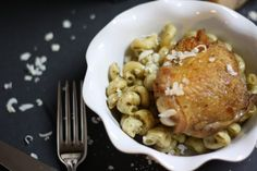 Crispy Chicken and Pesto pasta..a one dish meal!