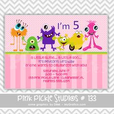 Little Monster Girl Personalized Party Invitation-personalized invitation, photo card, photo invitation, digital, party invitation, birthday, shower, announcement, printable, print, diy,pink, monster, halloween
