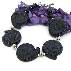 Ammonite Spirals Handmade Bracelet Black Onyx Sterling Unique Gemstone | ShadowDogDesigns - Jewelry on ArtFire
