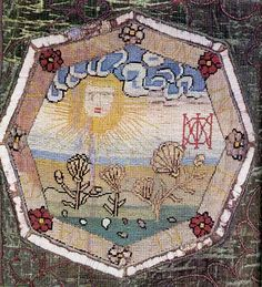 Sun embroidery by Mary Queen of Scots..her monogram is on the right handside.