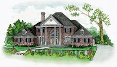 Elegant columns on the front porch gives a great first impression of this 4 bedroom Colonial home.  House Plan #  201126.