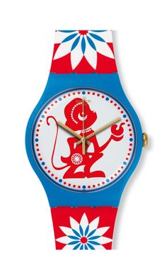 With Chinese New Year just around the corner, Swatch has created LUCKY MONKEY, just in time to join the celebrations welcoming the Year of the Monkey.  <br><strong>Dial: </strong>Red monkey.  <br><strong>Design: </strong>Chinese papercut inspired <br><strong>Sleeve: </strong>Special colorful variation  <br><strong>Case: </strong>Sky blue pastic <br><strong>Bracelet: </strong>Silicone <br><strong>Water: </strong>Resistant to 100ft <br><strong>Manufacture: </strong>Swiss Made