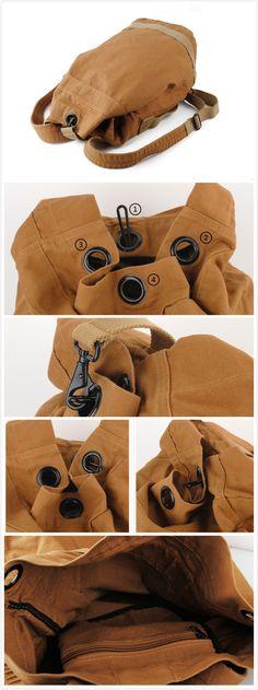 Image of Vintage Canvas  Hiking Travel Military Backpack Messenger Tote Bag L113