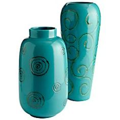 Assorted Ceramic Turquoise Swirl Vases from Pier 1 Imports