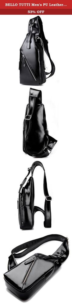 """BELLO TUTTI Men's PU Leather Adjustable Shoulder Strap Chest Sling Bag Black. Features: Material: PU Leather Dimension: 16cm(L)*6cm(W)*33cm(H)/6.29""""(L)*2.36""""(W)*12.99""""(H) Color: black,brown,blue (The pictures are of the actual products. But due to the different light and monitor setting. Minor color difference maybe existed.Thank you!) Adopting one-shoulder strap design, the bag can act as a single-shoulder bag/sling bag, or a cross-body bag for use. Front zipper pocket can hold ID card..."""