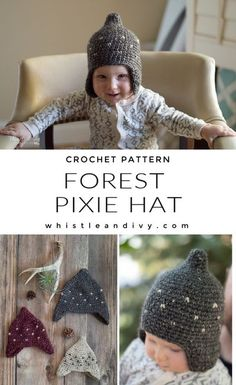 This sweet crochet pixie hat has a rustic, woodland feel and a darling fairy shape! The hat is perfect for an advanced beginner but has a lovely, modern feel. You will feel confident to gift this darling hat to an expectant mother or even to sell in your shop. The pattern includes 4 sizes from 0-3 months to toddler. Modern Crochet Patterns, Crochet Designs, Baby Patterns, Clothes Patterns, Crochet For Kids, Easy Crochet, Crochet Baby, Kids Hats, Children Hats