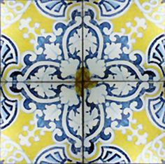 kitchen decor yellow and blue tile