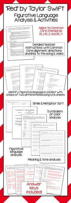 Red by Taylor Swift - Figurative Language Analysis & Activities - Engage students with music!