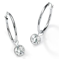 4.00 TCW Round Cubic Zirconia 10k White Gold Bezel-Set Charms Hoop Earrings
