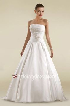 Ruched Strapless A-line Wedding Dress with Beadings and Sequins