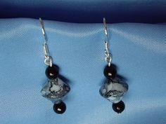 Sterling Silver with grey and black mottled glass beads
