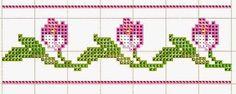 Tulipas Cross Stitch Borders, Cross Stitch Designs, Cross Stitching, Cross Stitch Embroidery, Hand Embroidery, Cross Stitch Patterns, Stitching Patterns, Needlepoint, Knitting