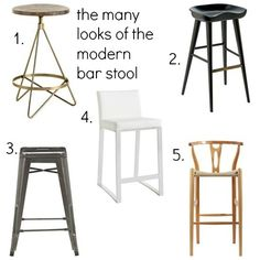 Selection of Contemporary Bar Stools for a Kitchen Island