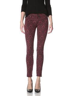 57% OFF Rich & Skinny Women's Brocade Print Jean (Wine)