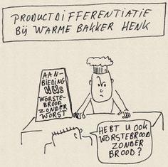Dit is een strip plaatje waarin wordt uitgebeeld hoe ver productdifferentiatie ooit gaat en moet gaan voor de consument.