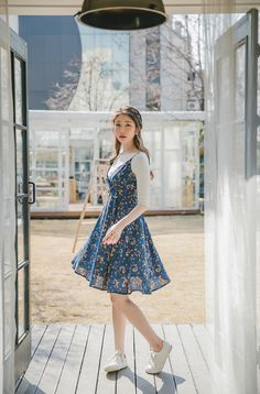 Floral Bustier Empire Dress in 2019 Korean Fashion Trends, Korean Street Fashion, Asian Fashion, Korean Spring Fashion, Ulzzang Fashion Summer, Korean Girl Fashion, Korea Fashion, Cute Fashion, Modest Fashion