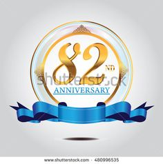 82nd anniversary golden logo with blue ribbon and golden ornament