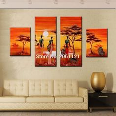 4 panels hand painting abstract africa women life canvas wall picture orange…
