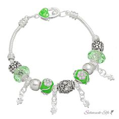Armband Charms & Beads grün KLEEBLATT im Organza Beutel, 3