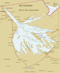 Map of Okavango Delta (Botswana)