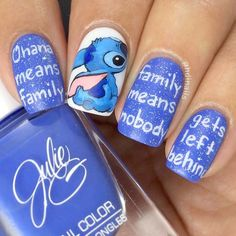 Inspiring Disney Nails Ideas For You To Try in 2019 Stitch Nail Art ❤️ Simple and easy acrylic or gel Disney nails design ideas to wake up your inner princess. Disney Nail Designs, Winter Nail Designs, Cute Nail Designs, Acrylic Nail Designs, Cartoon Nail Designs, Disney Acrylic Nails, Best Acrylic Nails, Easy Disney Nails, Disney Inspired Nails