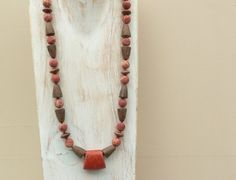 Red Sponge Coral Necklace Natural Coral Jewellery by graceofeden, Wood Necklace, Beaded Necklace, Summer Necklace, Coral Jewelry, Pink Design, Natural Red, Red Coral, Artisan Jewelry, Jewellery