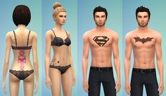 More Tattoos by ERae013 Download for Females: Ribbon | Stars Download for Males: Superman | Batman