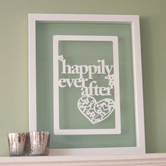 Personalized Papercut 'Happily Ever After' art / picture - Valentine's Day gift idea - so romantic!