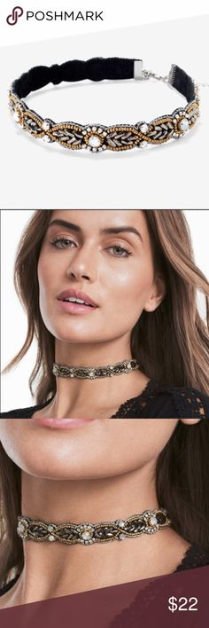 WHBM Mixed Metal Beaded Velvet Choker Brand new with tags in original sealed package. Non-smoking home. Lowball offers will not receive a reply. White House Black Market Jewelry Necklaces