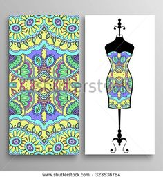 Vector fashion illustration, hand drawn seamless geometric pattern, isolated elements for invitation card design, women's dress on a hanger. Seamless fabric texture