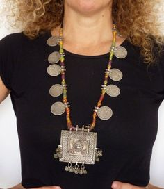 Rajasthan old silver rupees coins and hindu amulets necklace