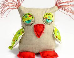 Personalized Owl Stuffed Owl Owl Doll Plush Owl by MiaPuPe Sewing Toys, Sewing Crafts, Sewing Projects, Doll Crafts, Yarn Crafts, Softies, Fabric Dolls, Rag Dolls, Zombie Dolls