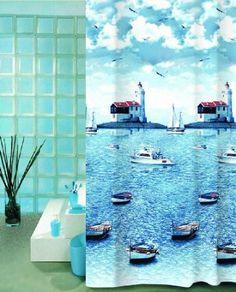 WOHNIDEENSHOP DUSCHVORHANG 180cm breit x 200cm lang Textil CUNDA Meer mit Booten shower curtain: Amazon.de: Küche & Haushalt
