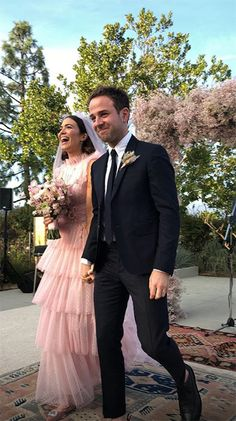 The beautiful Mandy Moore wed Taylor Goldsmith wearing a custom Rodarte Pink Tulle Embroidered Gown and Veil. (Styled by Cristina Ehrlich, photos RG: Mandy Moore and Ashley Streicher). Lace Wedding Dress, Pink Wedding Dresses, Long Sleeve Wedding, Wedding Colors, Wedding Gowns, Wedding Album, Mandy Moore, Celebrity Wedding Dresses, Celebrity Weddings