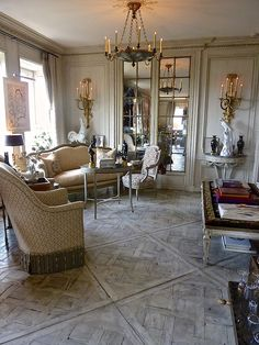 Howard Slatkin living room floors parquet.