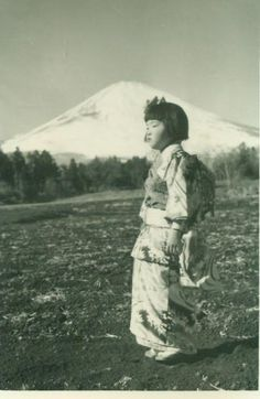 Traditional Korean Girl in Dress Standing Snow Covered Mountain Korean War Army Soldier Korea 1950s