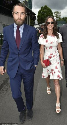 Pippa arrived with her brother James Middleton, who looked dapper in a navy suit, blue and white checked shirt and burgundy tie James Middleton, Middleton Family, Pippa Middleton, Royal Box Wimbledon, Pippa And James, Burgundy Tie, Maroon Shirts, Thing 1, Moda Masculina
